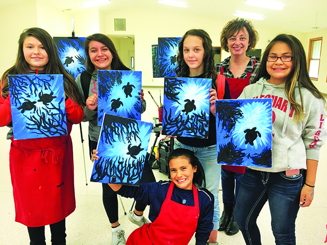 paint and sip brings out inner artist for girl s talking circle