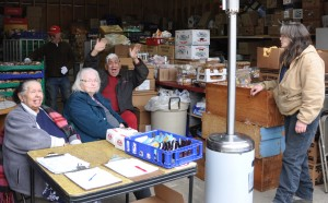 Food Bank volunteers; Delores Williams, Frances Morden, W. Jake Price and Tamara Morden on the far right.