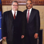 A meeting of the legal minds: Leonhard, left, with U.S. Attorney General Eric Holder (Courtesy M. Brent Leonhard)