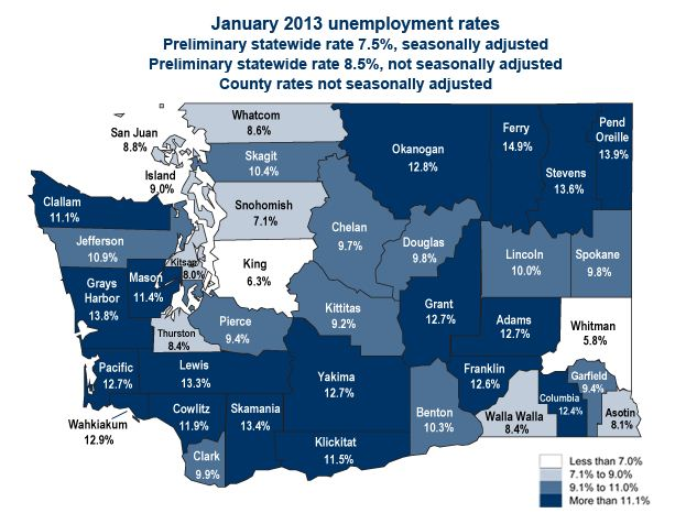 Map and Date from Washington State Emplyement Security Department