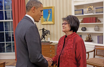 President Barack Obama meets with Elouise Cobell in the Oval Office, Dec. 8, 2010 - the day he signed legislation approving the Cobell settlement.
