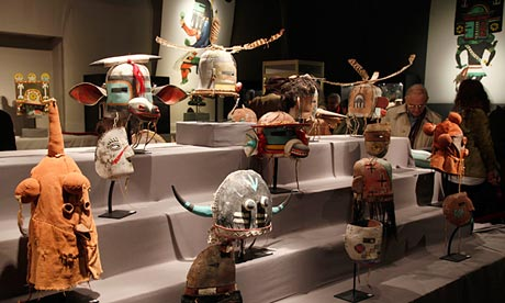 The Hopi masks displayed at the Paris auction house before the sale, which was condemned by Hollywood actor Robert Redford as a 'criminal gesture'. Photograph: John Schults/Reuters