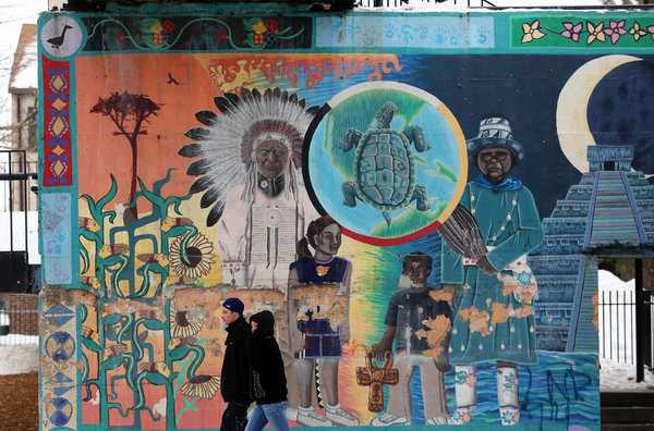 Nicole Bengiveno/The New York TimesA mural painted by children at the Little Earth of United Tribes housing complex in Minneapolis.