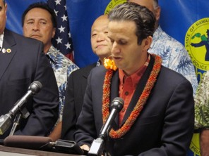 (Oskar Garcia/AP) - U.S. Sen. Brian Schatz speaks at a news conference accepting an endorsement from the State of Hawaii Organization of Police Officers union in Honolulu on Friday, May 3, 2013. Schatz introduced legislation Thursday to reauthorize the construction of a Native American veterans memorial on the Mall.