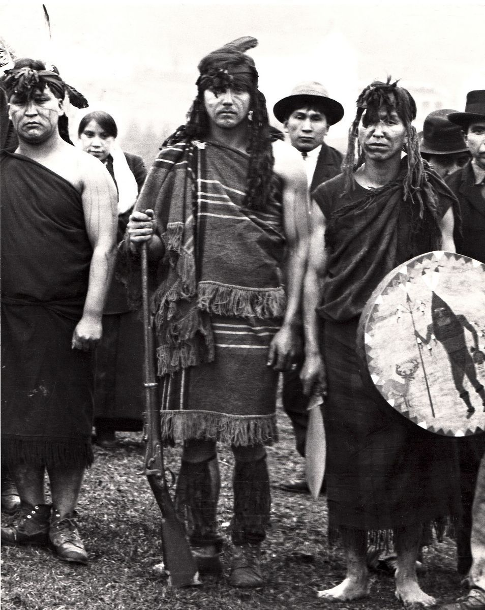 Photo courtesy Diane JanesTulalip tribal member George Jones is shown in ceremonial regalia at the opening of the tribal longhouse in 1914. Jones was the maternal grandfather of Diane Janes, who has compiled a series of books of tribal photos.