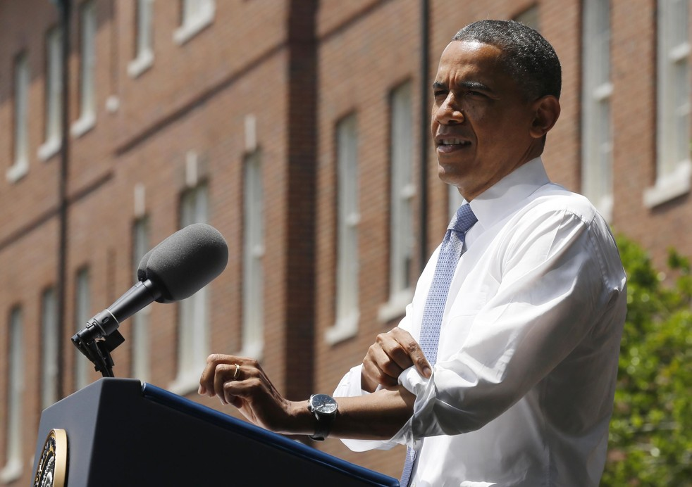 President Obama spoke today about his climate agenda at Georgetown University (Larry Downing/Reuters)