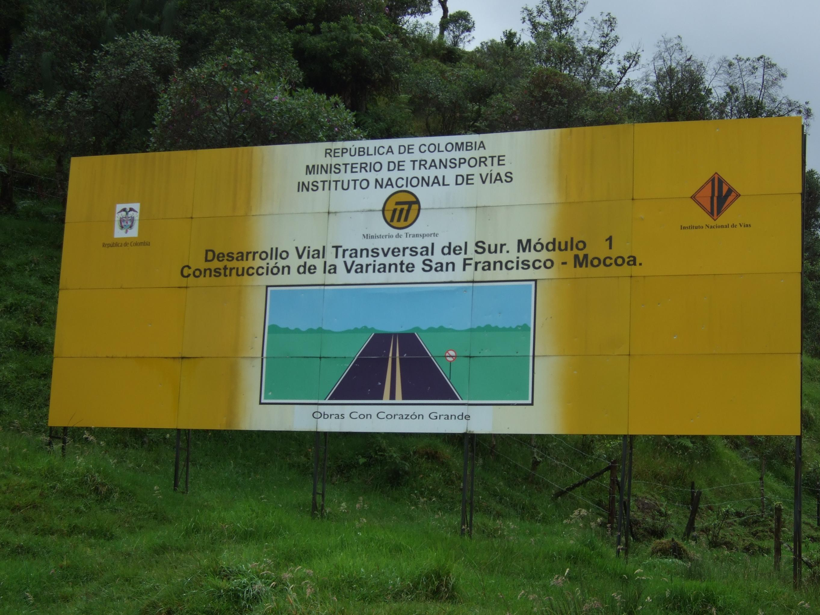A sign announces the construction project