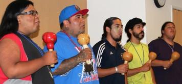 Albert Rodriguez (l-r), Paakuma Tawinat, Joshua Gonzales, Brandon Duran and Randy Plummer sing Cahuilla bird songs during the 2012 Gathering of the Tribes.