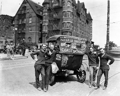 On May 26, 1924, the Los Angeles Newsboys' Quartette posed in front of the Tacoma Hotel and totem pole. Source: Marvin D. Boland Collection, Tacoma Public Library