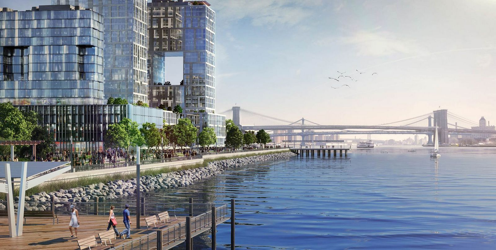 """Associated PressThis artist rendering shows a proposed """"Seaport City"""" neighborhood to be built just south of the Brooklyn Bridge that could act as a buffer against flooding in lower Manhattan."""
