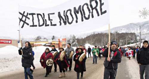 Members of the Haisla First Nation march in Kitimat, B.C. as part of a rally in support of the Idle No More movement in 2012. Photo: THE CANADIAN PRESS/Robin Rowland