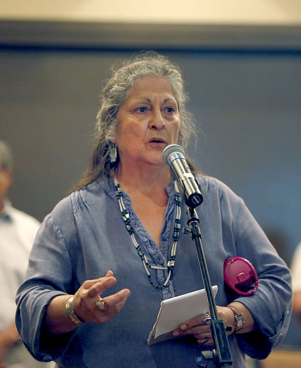 Roberta Cortero of the Central Band of Chumash Nation speaks her concerns about the proposed changes to federal acknowledgment regulations for Native American tribes Thursday In Solvang. Daniel Dreifuss/Staff