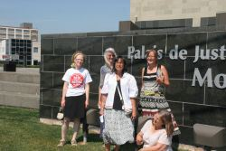 Sock and supporters of John Levi in front of Moncton Courthouse. Photo: Miles Howe