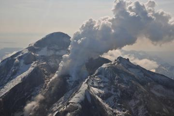 Redoubt Volcano's active lava dome as it appeared on May 8, 2009. The volcano is in the Aleutian Range about 110 miles south-southwest of Anchorage, Alaska.Image-Chris Waythomas, Alaska Volcano Observatory