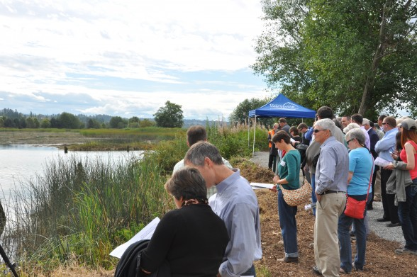 State and local politicians along with environmentalists toured the estuary while learning about the extensive undertakings that are part of the complex project that will restore the estuary to it's natural function. Photo by Monica Brown