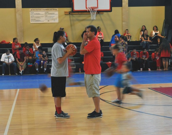 Shoni and her father Rick directed kids as they ran lines during the practice portion of the event.