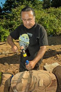 Lummi Master Carver Jewell James at work. Photo: Paul K. Anderson, Chuckanut Conservancy.