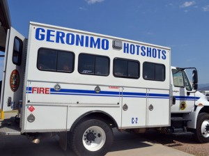 The Geronimo Hotshots are one of seven elite Native American firefighting crews in the country.Kirk Siegler/NPR