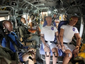 The dummies will test seatbelts and other technologies during a crash test in which the helicopter will be dropped from a height of about 30 feet.Credit: NASA Langley / David C. Bowman