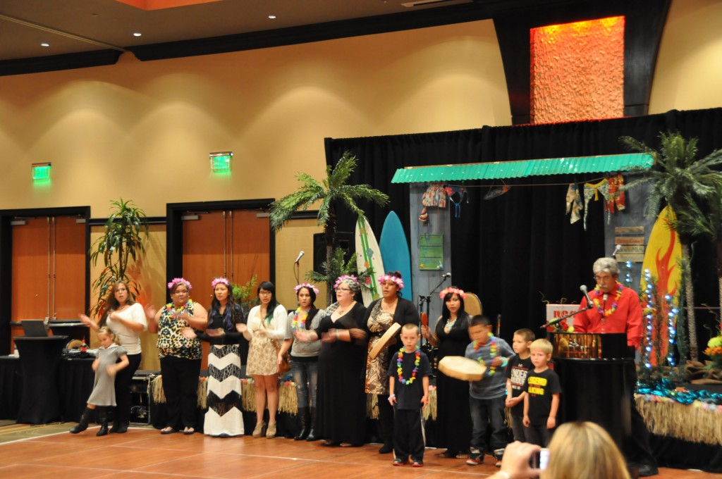 Language department sings welcome song in Lushootseed at the opening of the banquet