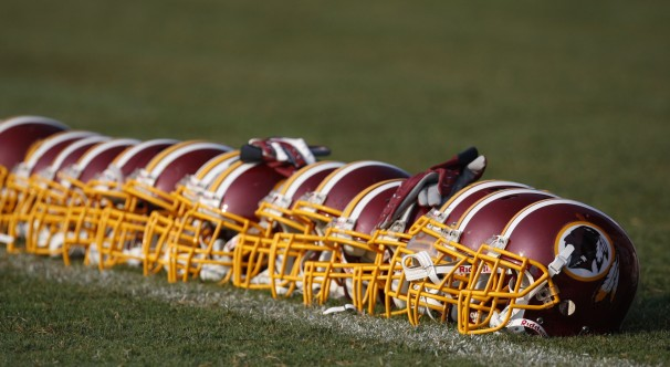 Pablo Martinez Monsivais, File/Associated Press - FILE - In this Aug. 4, 2009, file photo, Washington Redskins helmets are displayed on the field during NFL football training camp at Redskins Park in Ashburn, Va. The Oneida Indian Nation tribe in upstate New York said Thursday, Sept. 5, 2013, it will launch a radio ad campaign pressing for the Washington Redskins to get rid of a nickname that is often criticized as offensive.
