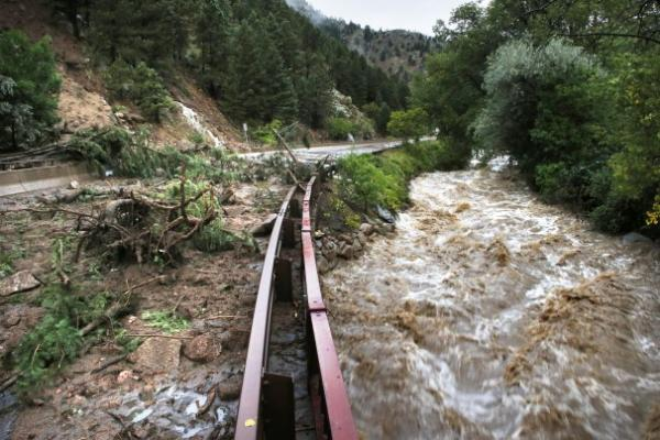 Brennan Linsley/Associated PressThe raging floodwaters of Boulder Creek, at the base of Boulder Canyon, on Friday September 13.