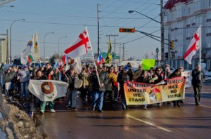 January 9, 2013. The Idle No More protests reach Moncton (Canada), as about 200 people march on City Hall in support of First Nations rights. Photo: Stephen Downes / Flickr