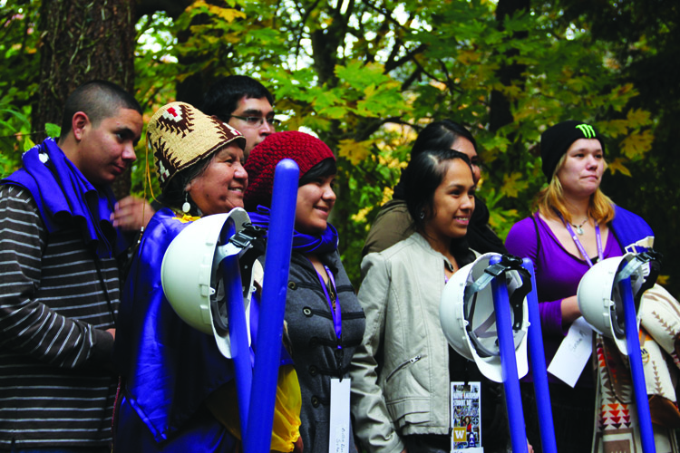 Native students and faculty at the University of Washington celebrated the October 25th groundbreaking of the new longhouse.Photo/Andrew Gobin, Tulalip News