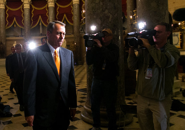 Doug Mills/The New York TimesSpeaker John A. Boehner before voting Wednesday night. He told his members to hold their heads high, go home and regroup.
