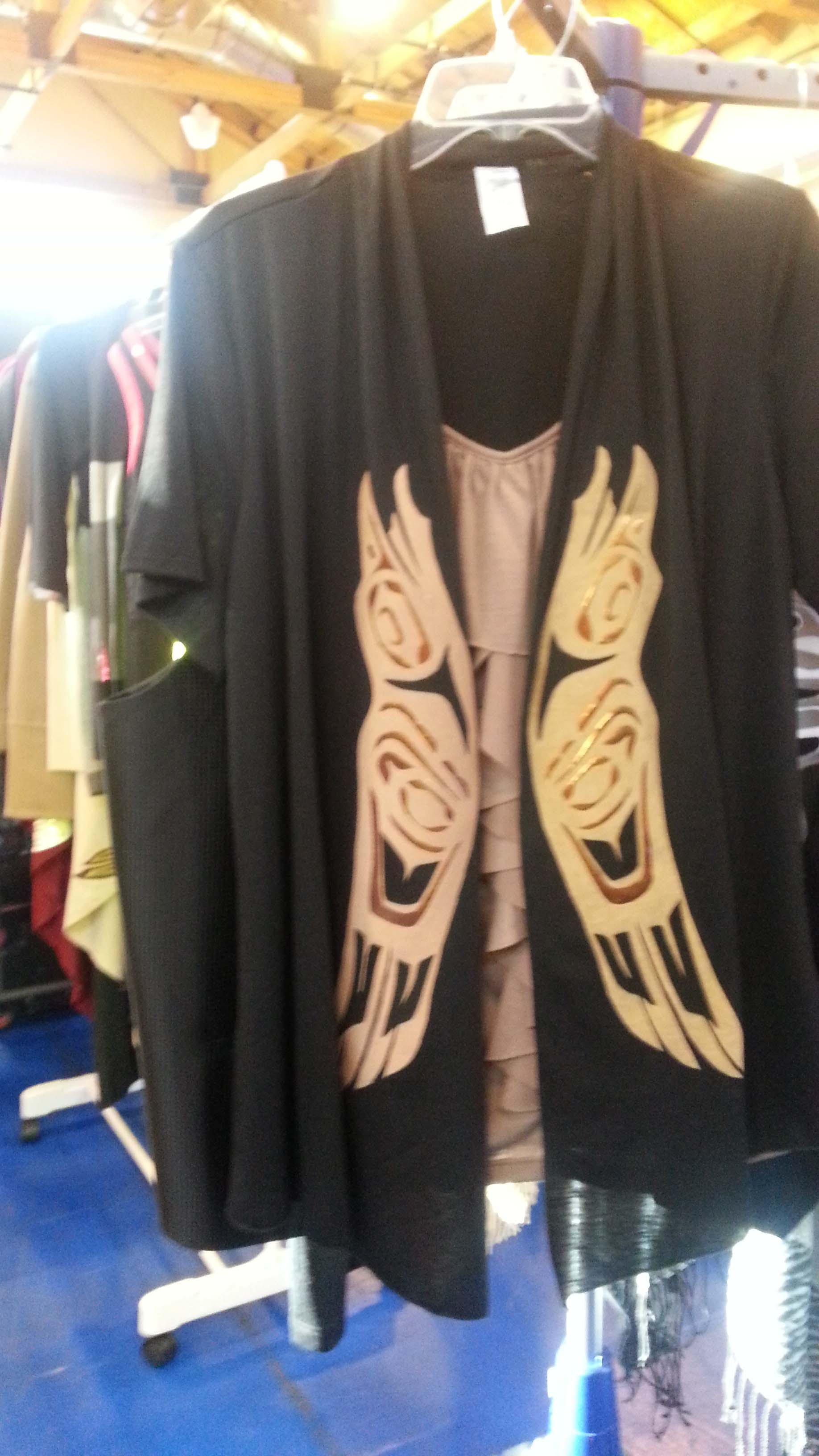 Among the many native themed crafts is a line of clothing that has been tailored to show off native America designs.