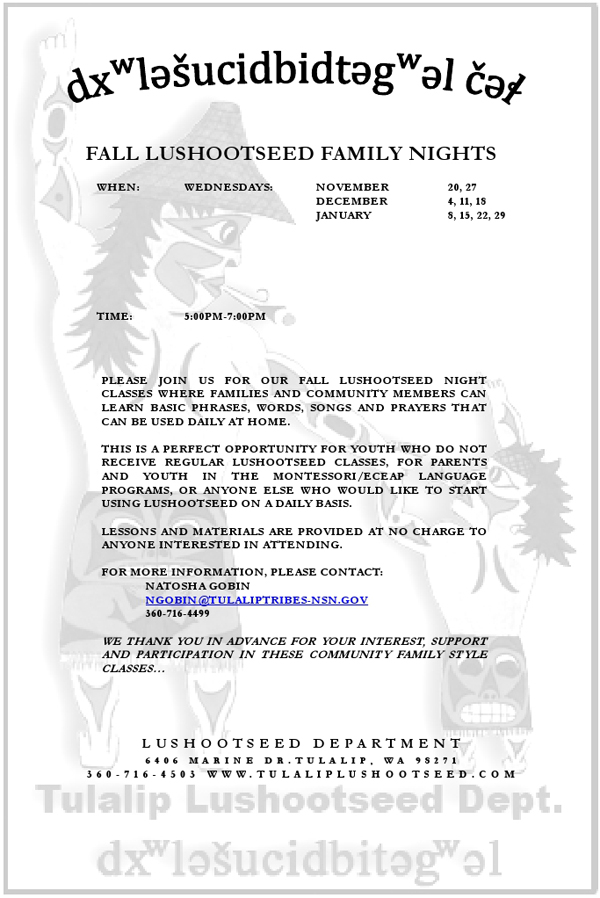 FALL LUSHOOTSEED CLASS FLYER 2013
