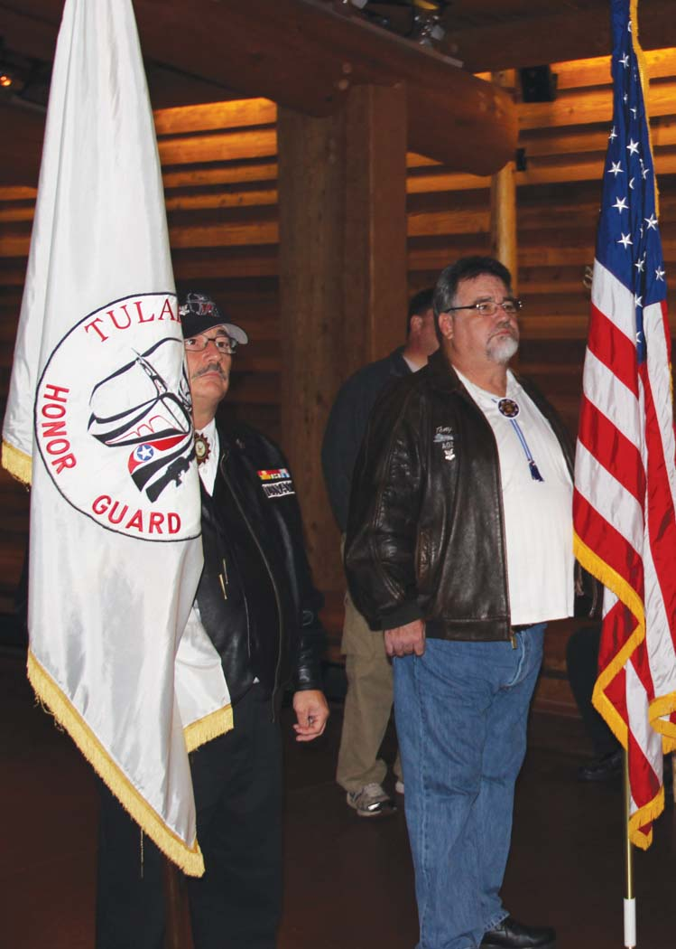 Brothers Tony and Mike Gobin of the Tulalip Honor Guard present the colors at the Veterans Luncheon.Photo: Andrew Gobin, Tulalip News