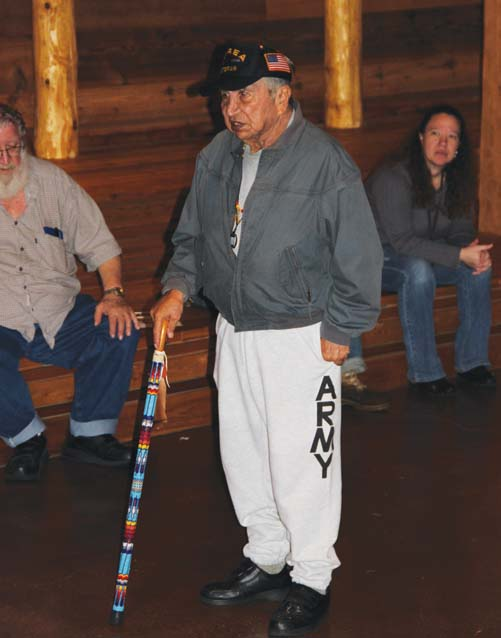 Tulalip Tribal veteran Ray Moses telling war stories at the healing ceremony.Photo: Andrew Gobin, Tulalip News