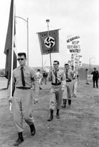 Members of the America Nazi party demonstrate against desegregating the Washington Redskins football team in 1961.