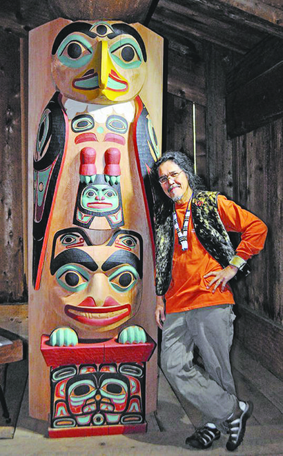 """Native Arts and Cultures Foundation """"traditional arts"""" fellow Israel Shotridge and one of his creations."""