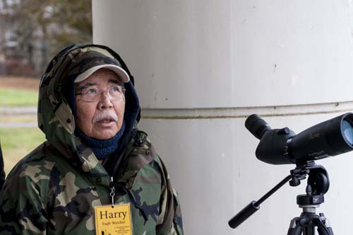 Eagle Watcher Harry Otta at the hatchery.