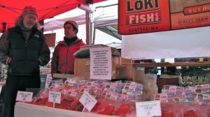 """Pete Knutson and his son, Dylan, sell their wild-caught salmon at farmer's markets around Seattle. """"We had people passing on our fish this year. It was directly because they were worried about Fukushima.""""   credit: Ashley Ahearn"""