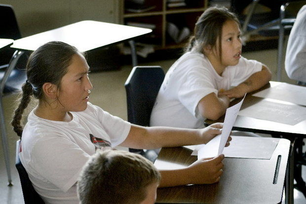 This file photo shows young people in a classroom in Siletz in 2007. (Fredrick D. Joe / The Oregonian / 2007)