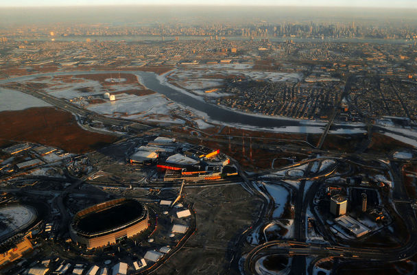 The Associated PressThis aerial photo shows MetLife Stadium, lower left, in East Rutherford, N.J., with the New York City skyline, top, not that far away in the background across cold marshlands.