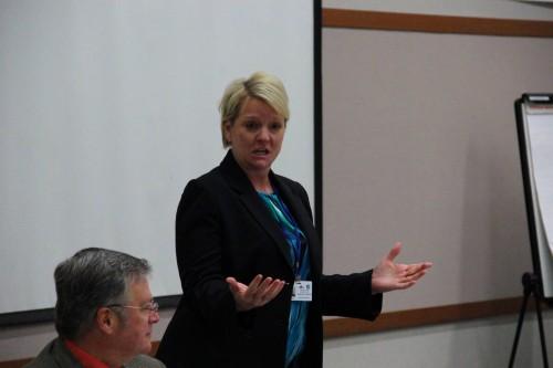 Becky Berg opens a meeting between Marysville School District staff and State Legislators.