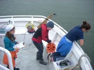 Everett Community College Ocean Research College Academy (ORCA) students collect water samples.