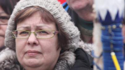 Attawapiskat Chief Theresa Spence last January on Victoria Island during her fas