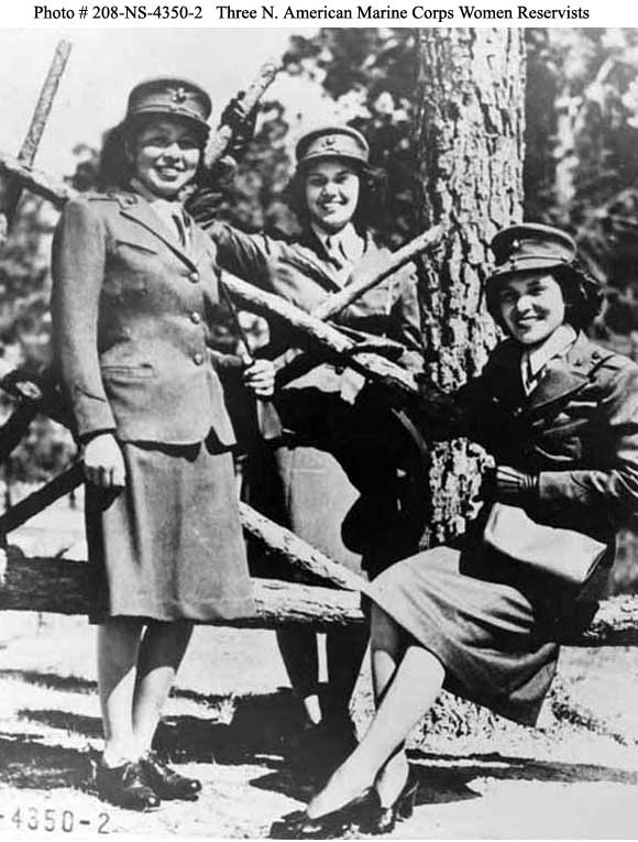 The Native American Marine Corps Women Reservists are pictured at Camp Lejeune, North Carolina on October 16, 1943. Pictured, from left, are: Minnie Spotted Wolf (Blackfoot Tribe), Celia Mix (Potawatomi Tribe), and Viola Eastman (Chippewa Tribe). (Courtesy U.S. Marine Corps)