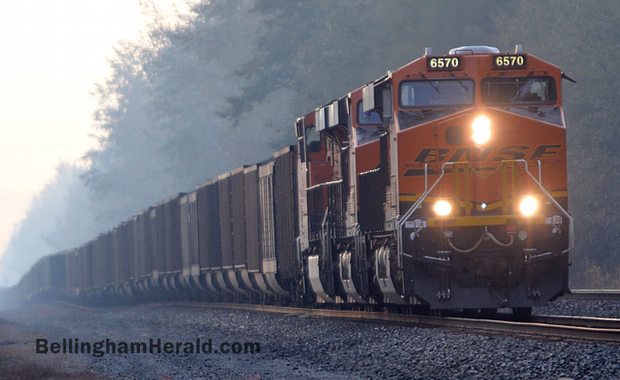 A mile-long coal train waits south of Blaine, Friday morning, Oct. 11, 2013, to cross the border and unload in Canada.PHILIP A. DWYER — THE BELLINGHAM HERALD