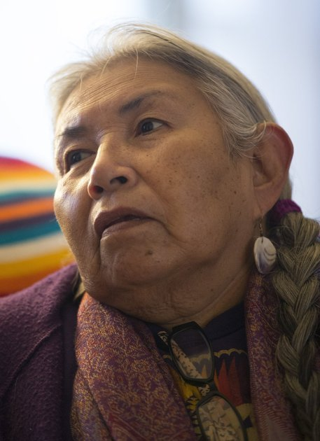Faith Spotted Eagle sits in her home in Lake Andes, South Dakota on Monday, Feb. 10, 2014. Spotted Eagle is fighting against the proposed Keystone XL pipeline. TRAVIS HEYING — MCT