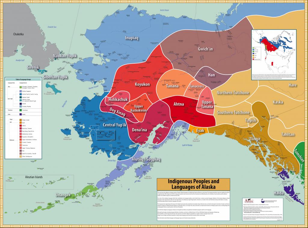 Alaska native languages map from University of Alaska FairbanksClick map to see more detail.