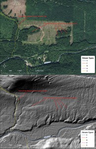 An aerial photo (above) is compared with the LIDAR model.