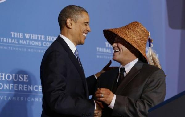 "Courtesy Brian CladoosbySwinomish Chairman Brian Cladoosby introduces President Obama as the ""first American Indian president"" of the U.S., at the 2012 White House Tribal Nations Conference. Cladoosby and his wife will be the Obamas' guests at the White House State Dinner for French President Francois Hollande, February 11."