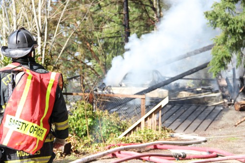 With limited water, fire crews were able to extinguish the fire, but not until the structure was almost completely gone. Andrew Gobin/Tulalip News