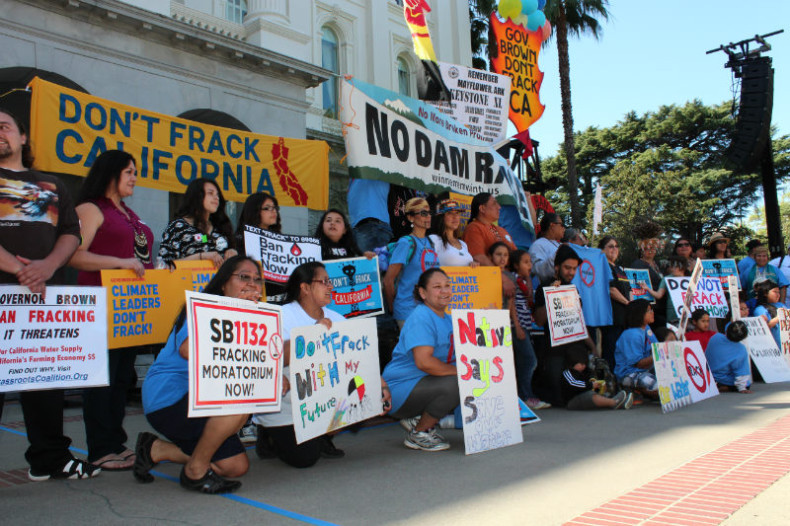 Tribal representatives from throughout California converged at the Capitol to oppose fracking on March 15. (Photo by Dan Bacher)